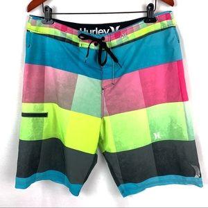 faaa9832db1cd Hurley Phantom 34 Rainbow Color Block Board Shorts